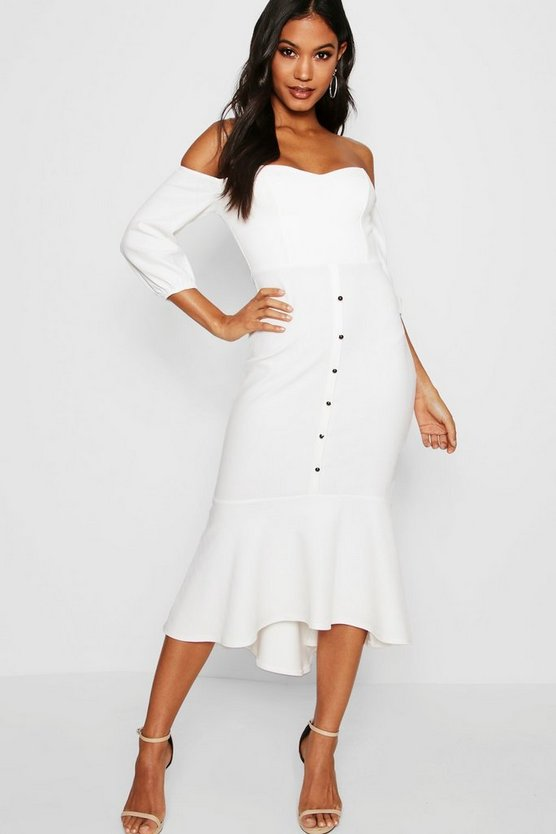 Rachel Off Shoulder Button Detail Midi Dress