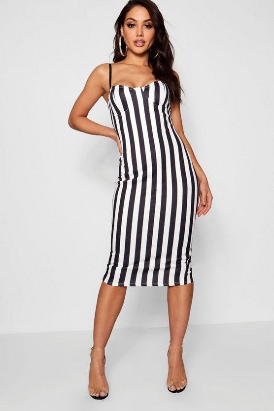 Bustier Detail Stripe Midi Dress