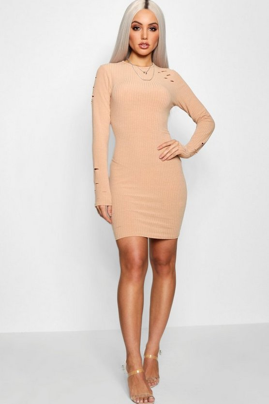 Distressed Rib Bodycon Dress