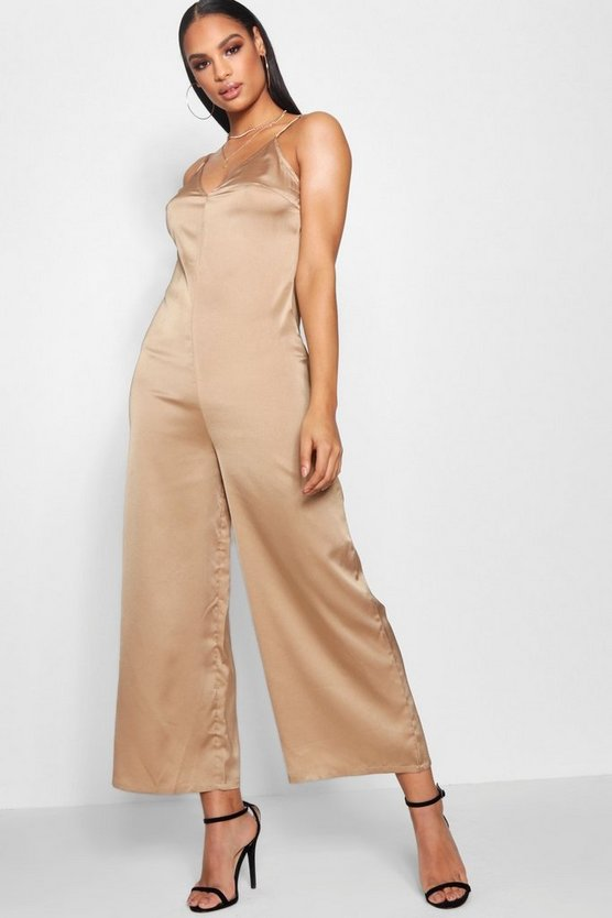 Lena Strappy Cami Luxe Satin Wide Leg Jumpsuit