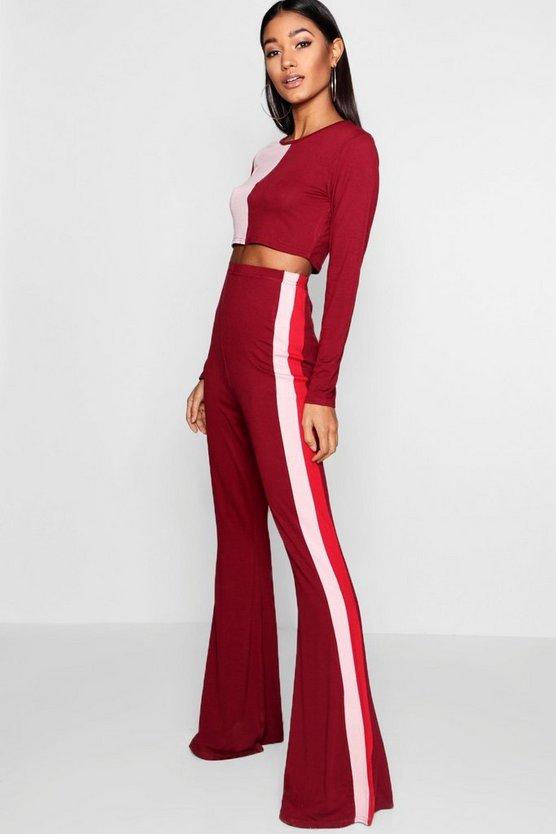 Melissa Colour Block Crop & Flare Trouser Co-ord