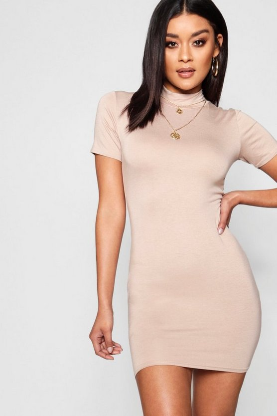Jersey High Neck 1/2 Sleeve Mini Dress