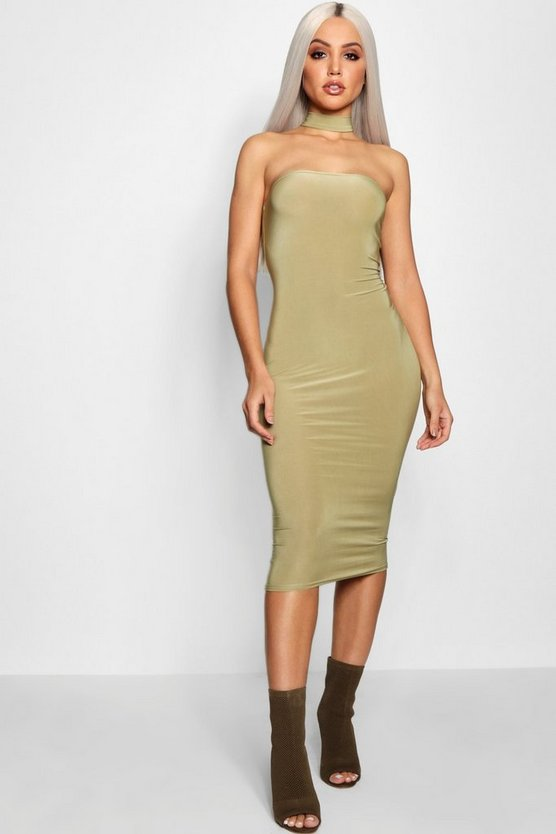 Charlotte Bandeau Choker Midi Dress
