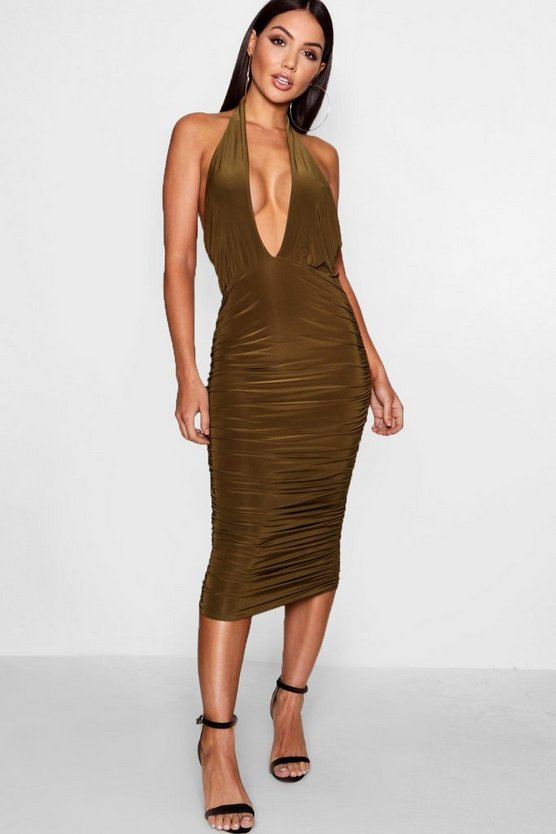 Taylor Cross Front Ruched Detail Midi Dress