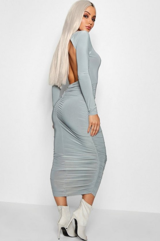 Ruched Open Back Midi Dress