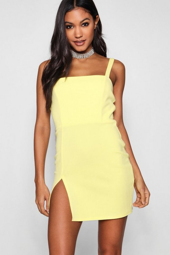 Ally Square Neck Thigh Split Bodycon Dress