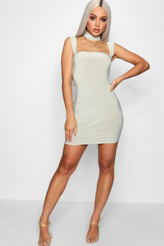 Ellie Square Neck Choker Bodycon Dress