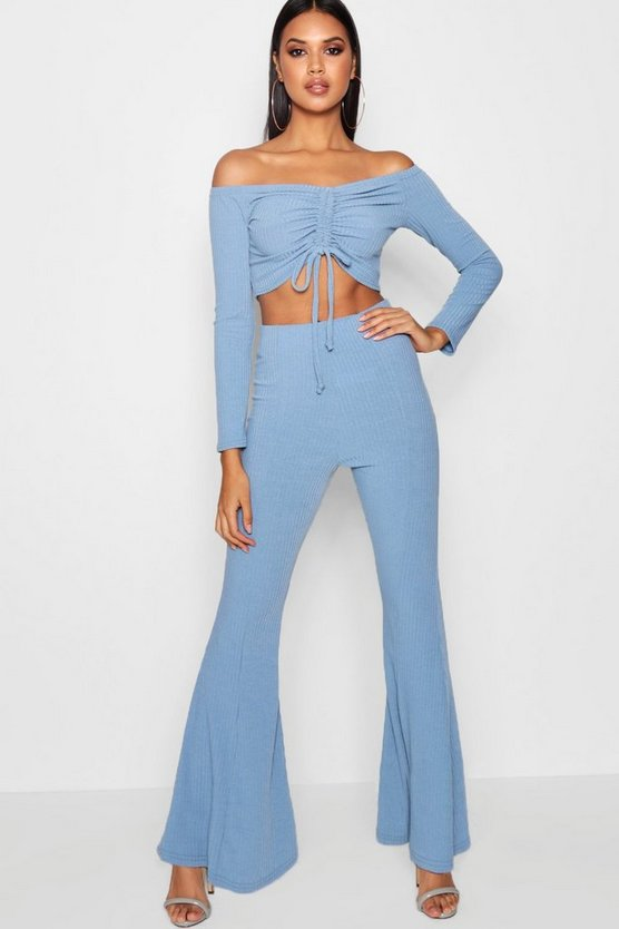 Jaya Ribbed Flare Trousers