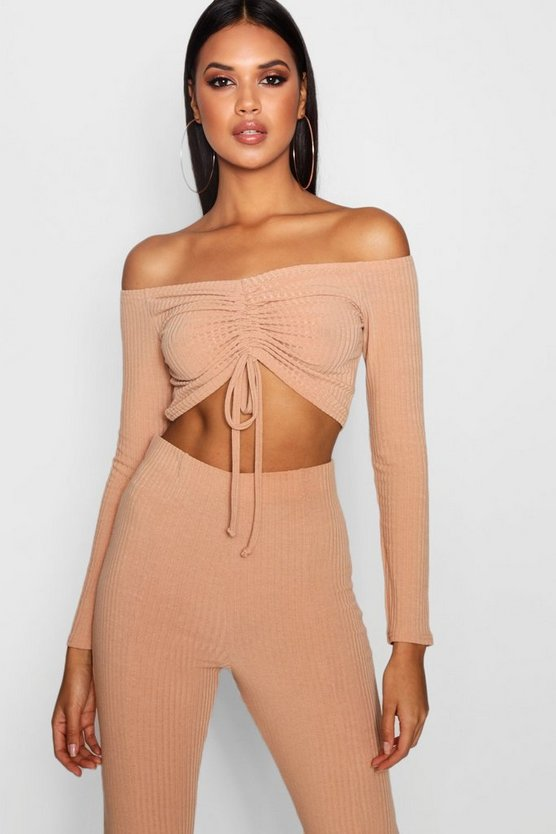 Off Shoulder Rib Ruched Front Crop Top