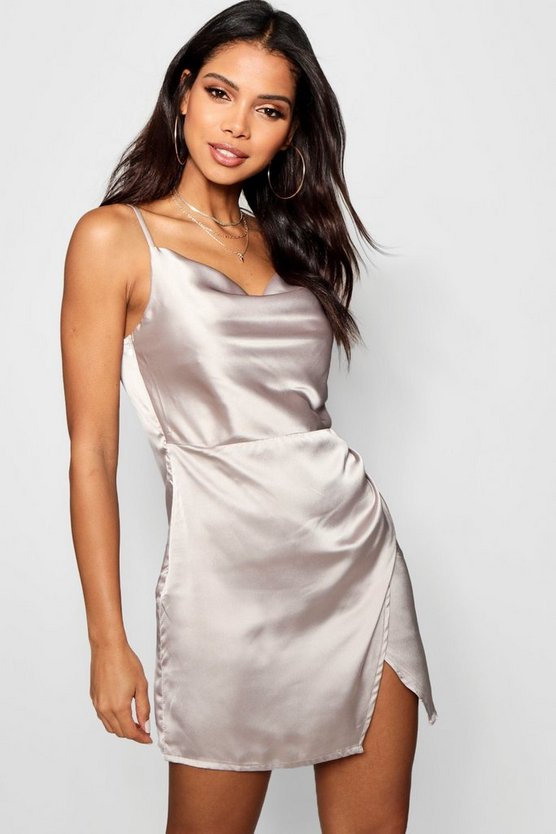Tia Cowl Neck Wrap Front Luxe Satin Mini Dress