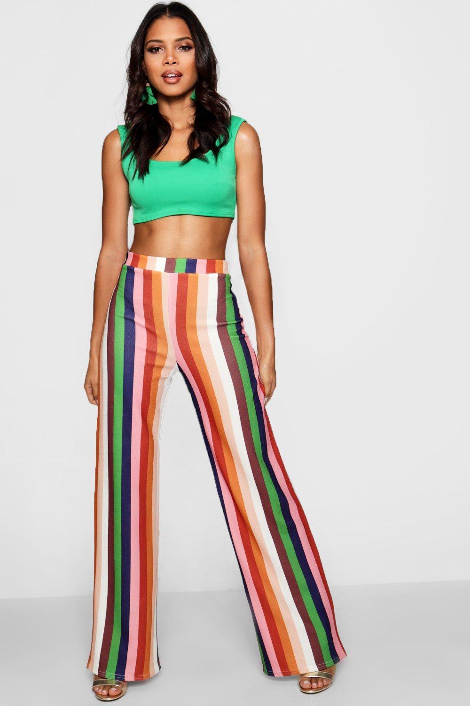 Купить Trousers, С высокой талией Широкие брюки в полоску, boohoo