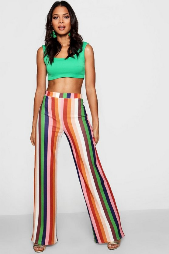 Kayla High Waist Stripe Wide Leg Trouser