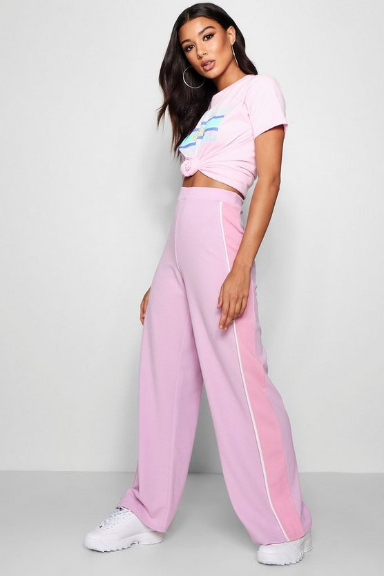 Crepe Sports Stripe Wide Leg Trousers