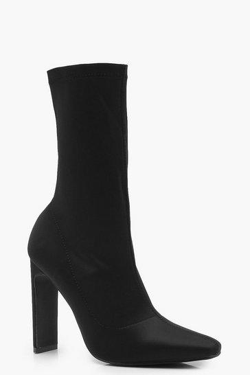 Black Slim Straight Heel Sock Boots