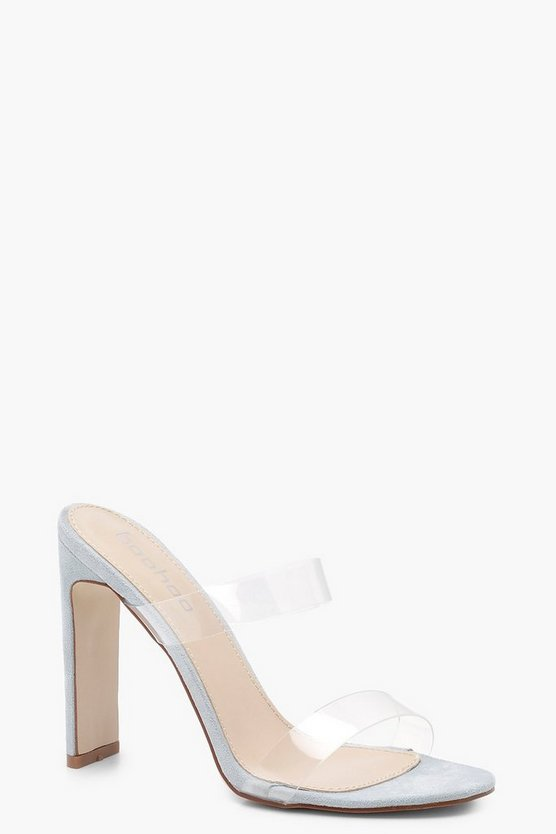 Brooke Double Clear Band Mule Heels