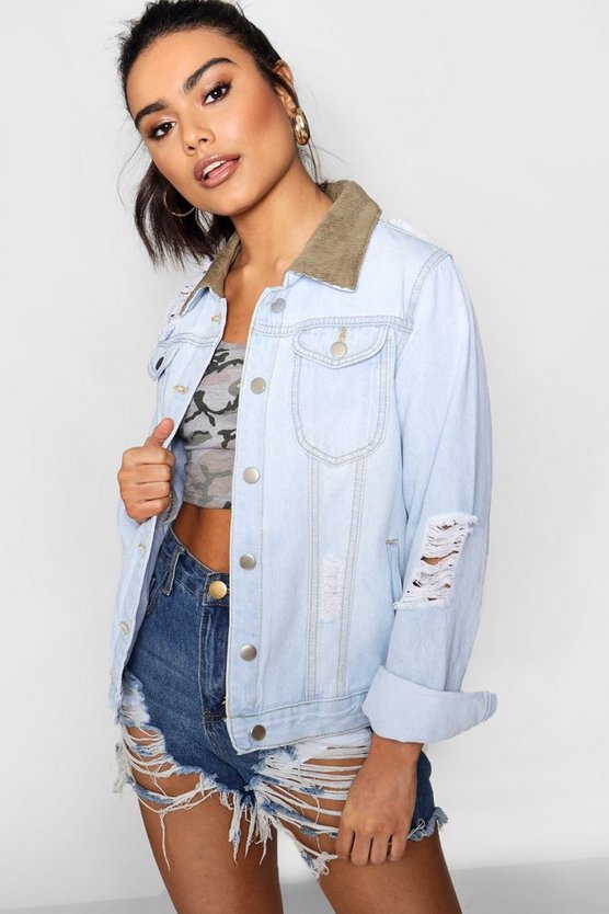 Nadia Cord Collar Slim Fit Denim Jacket