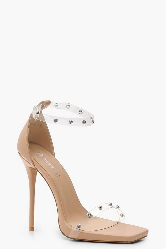 Rebecca Embellished Clear Strap 2 Part Heels