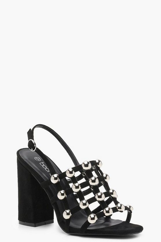 Emily Cage Studded Block Heels