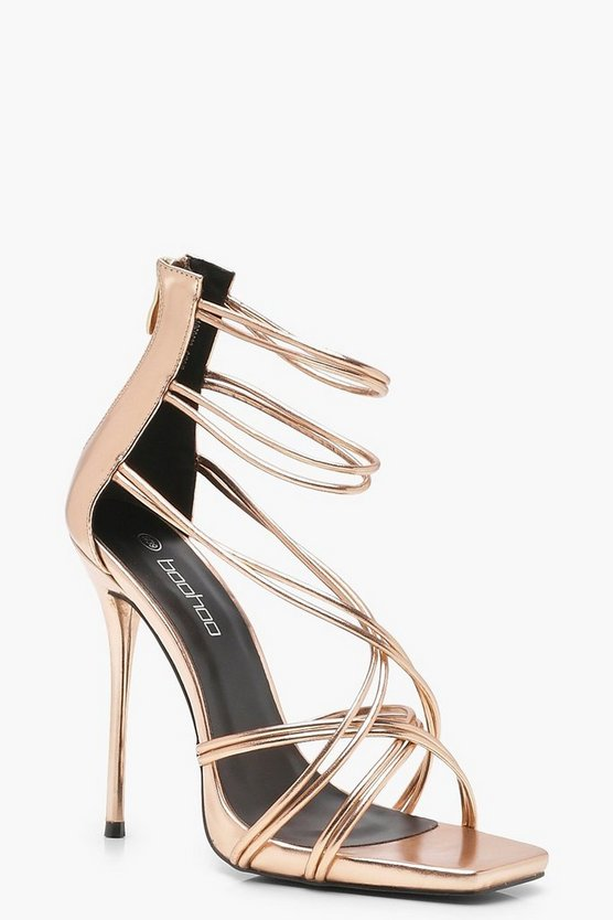 Strappy Metallic Cage Sandals