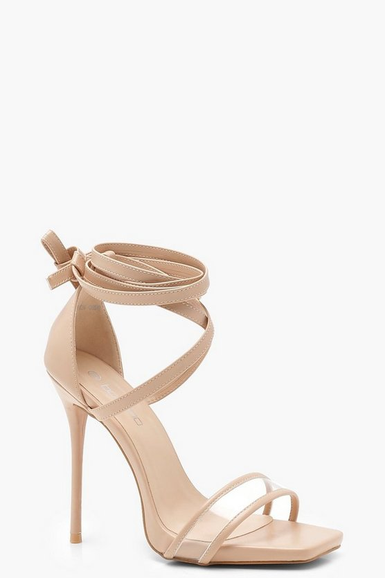 Clear Strap Wrap Detail Heels