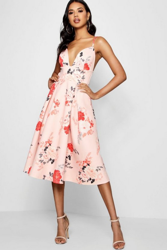 Nia Floral Scuba Frill Skirt Midi Skater Dress
