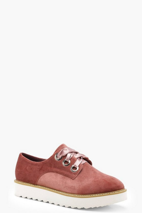 Lace Up Velvet Cleated Brogues