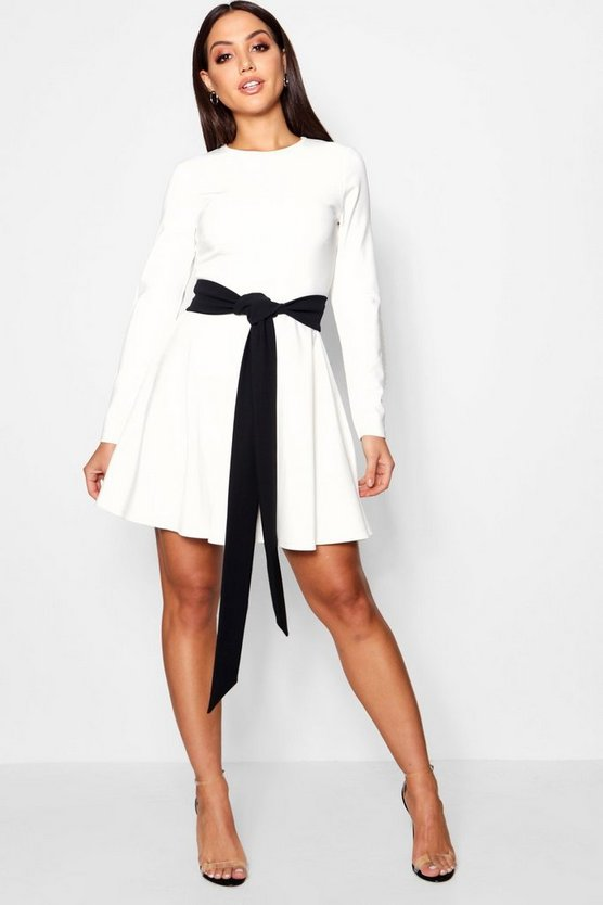 Emma Long Sleeve Contrast Belt Skater Dress