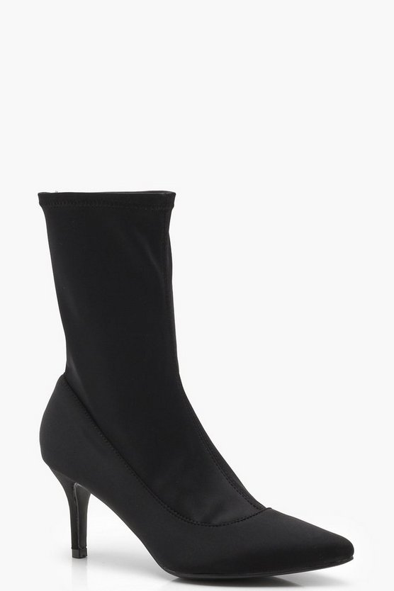 Pointed Toe Low Heel Sock Boots
