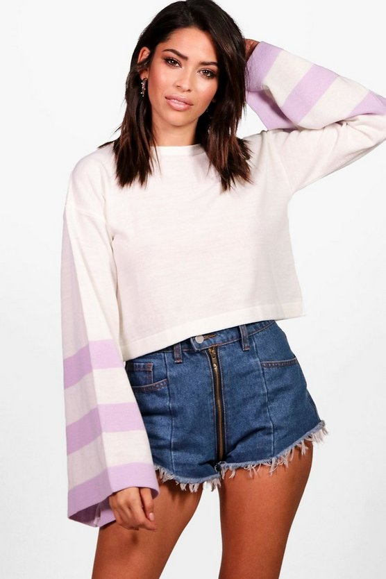 Faye Flare Sleeve Stripe Crop Jumper