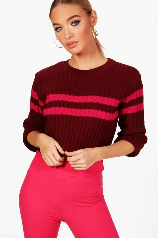 Sports Stripe Rib Knit Jumper