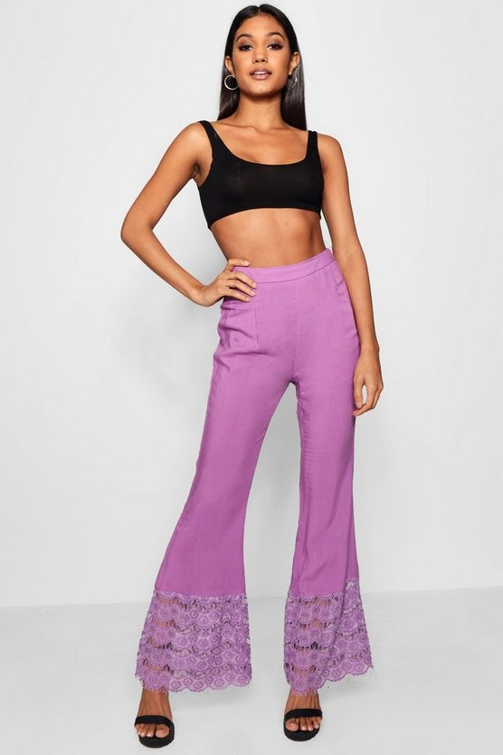 Lace Trim Wide Leg Trouser