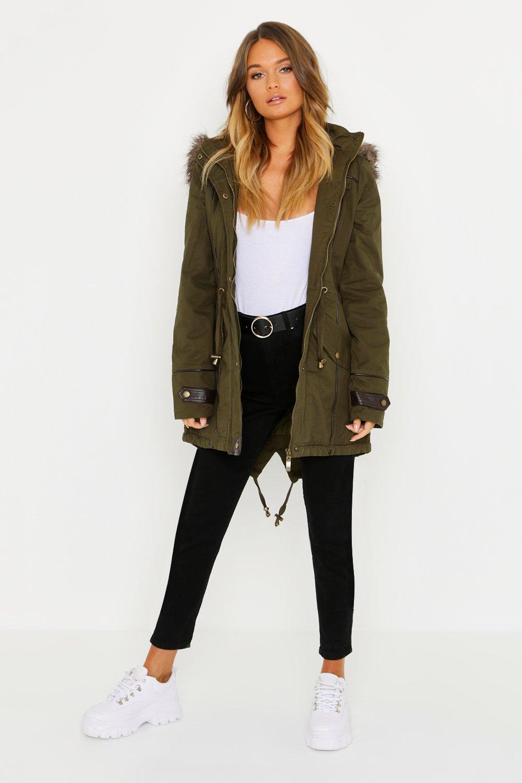 Купить Coats & Jackets, Parka With Faux Fur Trim Hood, boohoo