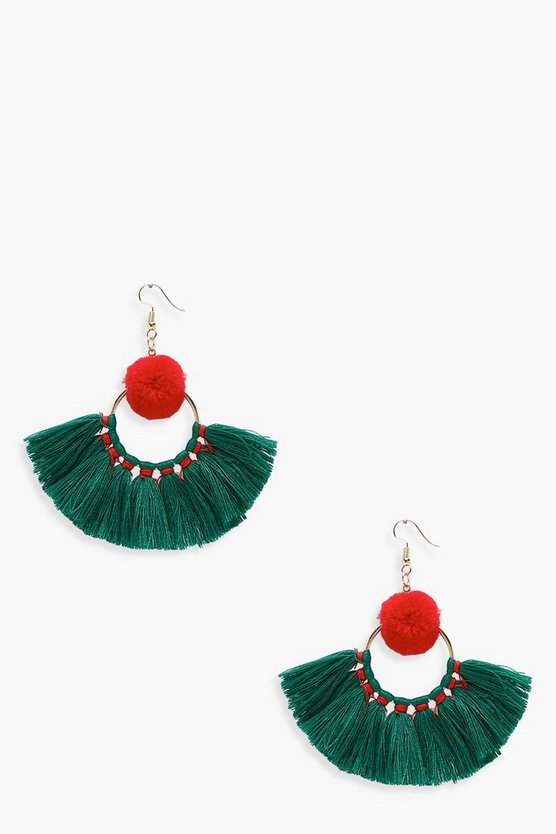Hannah Contrast Pom And Tassel Earrings