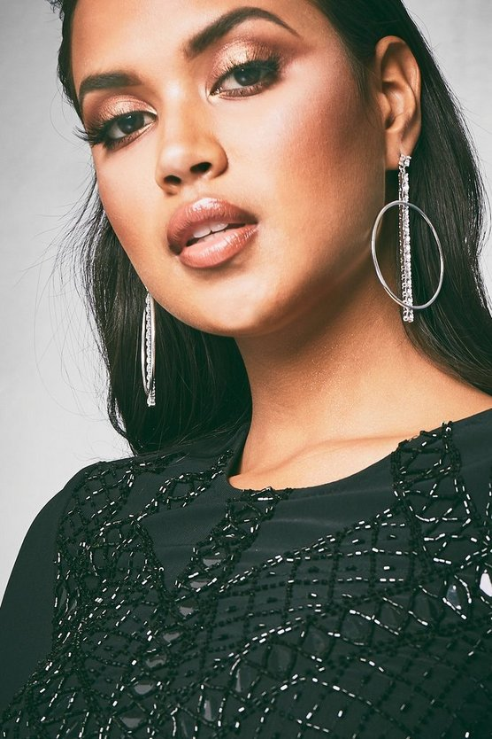 Jasmine Diamante Bar & Hoop Earrings