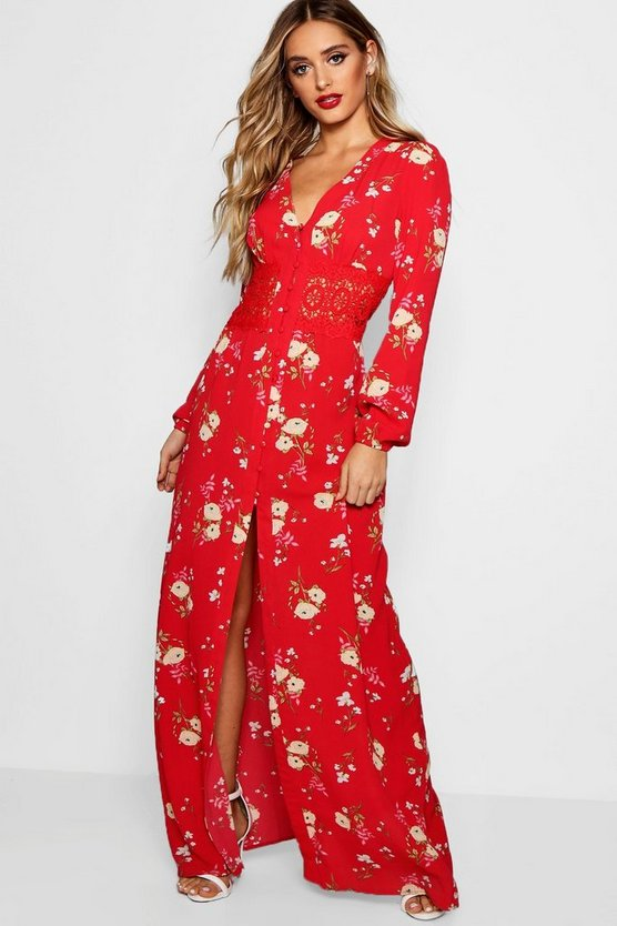 Evie Crochet Insert Button Front Floral Maxi Dress by Boohoo