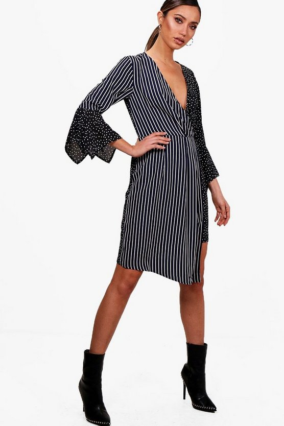 Mixed Print Wrap Front Midi Dress