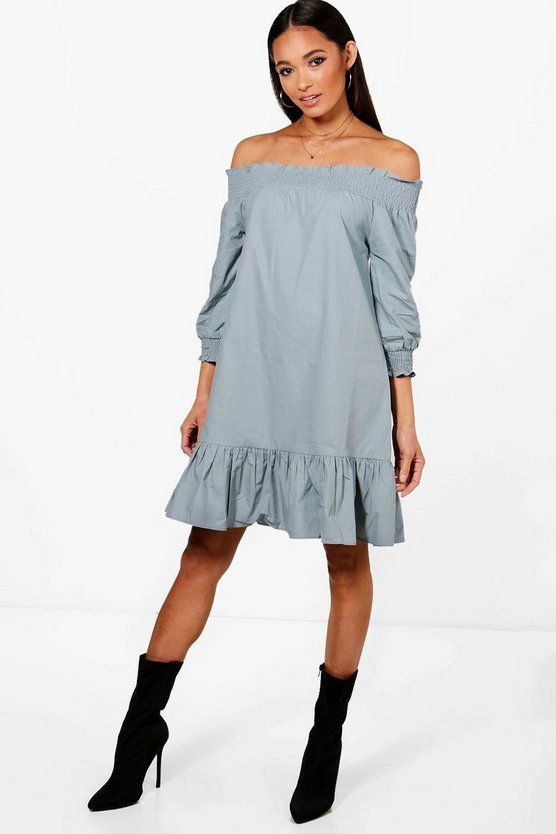 Shirred Off The Shoulder Shift Dress