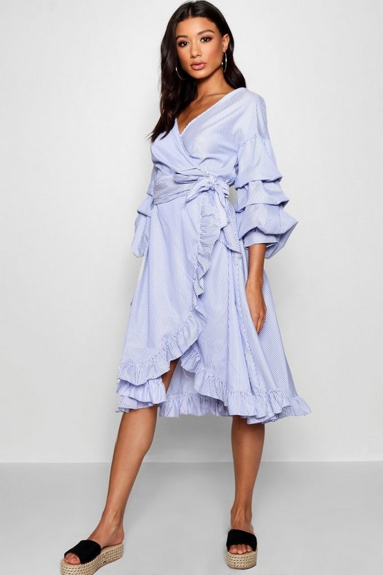 Michelle Rouched Sleeve Ruffle Wrap Midi Dress