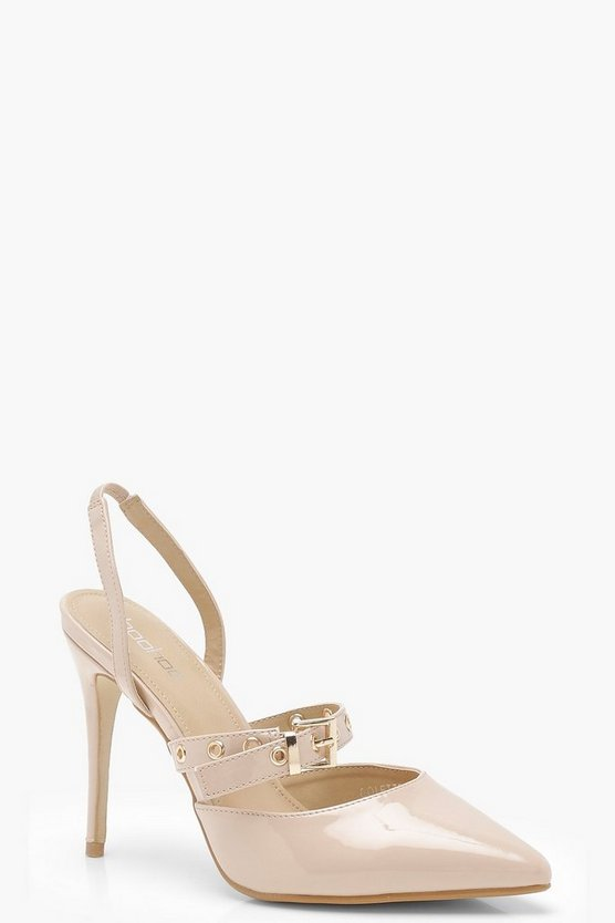 Patent Pointed Sling Back Heels