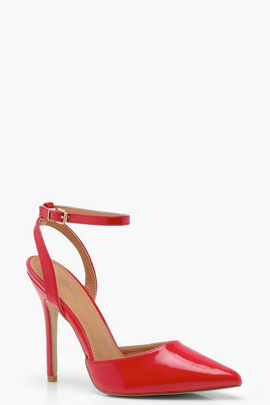 Amber Pointed Patent Sling Back Heels