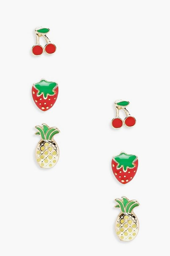 Deena Mixed Fruit Stud Earrings 3 Pack