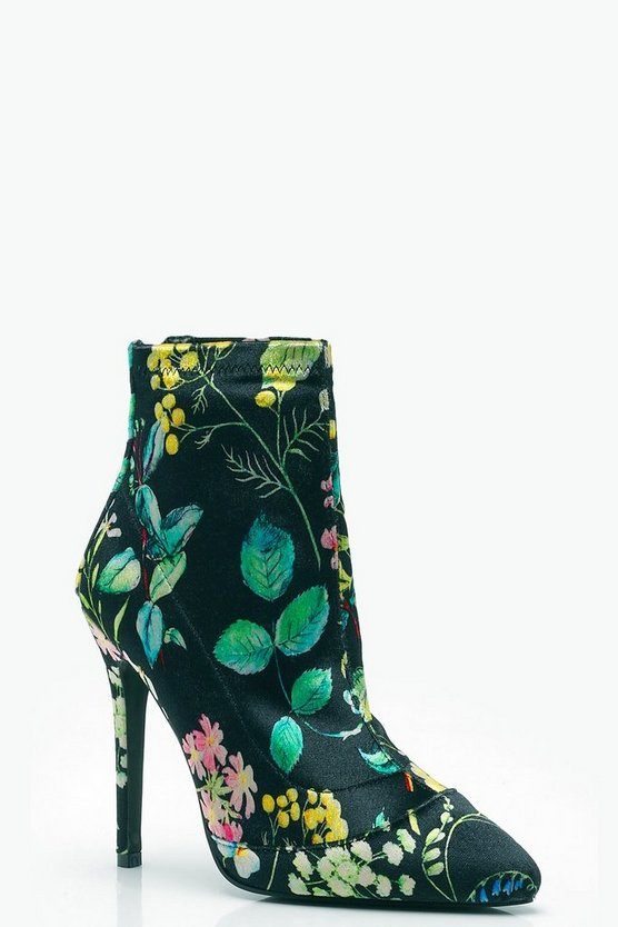 Eliza Floral Print Stretch Pointed Toe Sock Boots by Boohoo