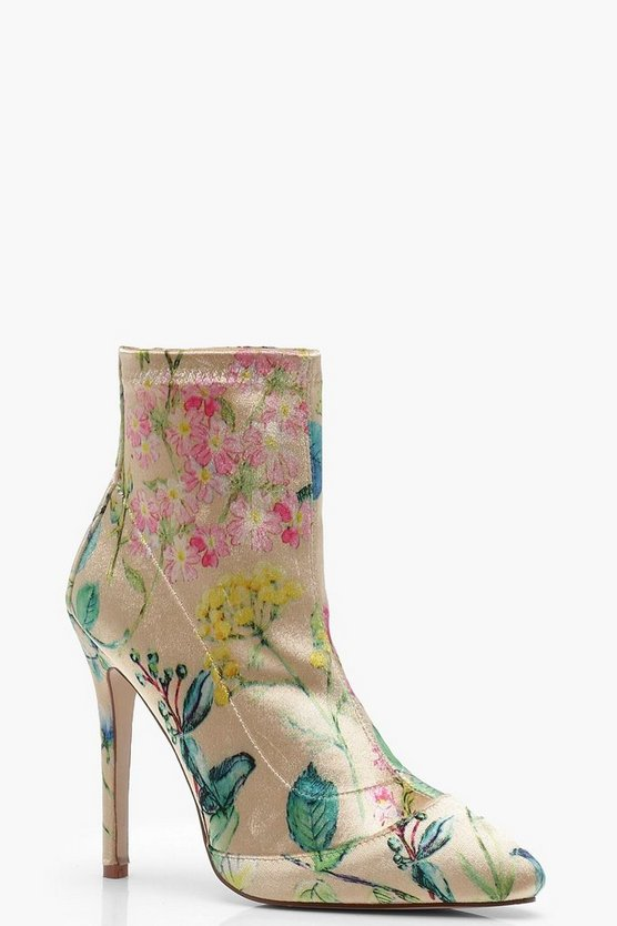 Eliza Floral Print Stretch Pointed Toe Sock Boots