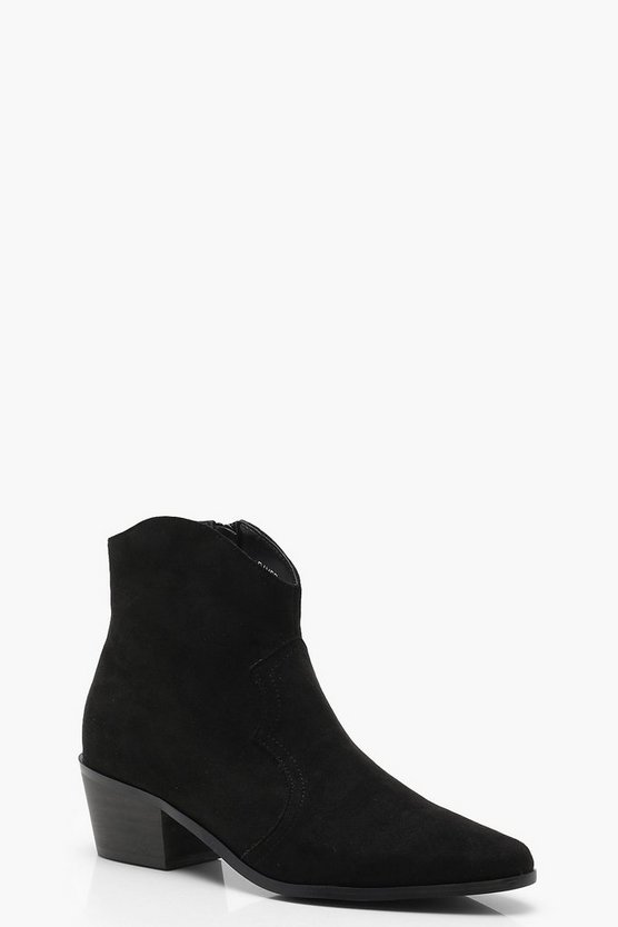 Suedette Western Ankle Boots