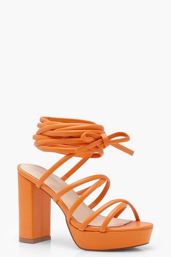 Evie Cross Strap Tie Up Platform Heels