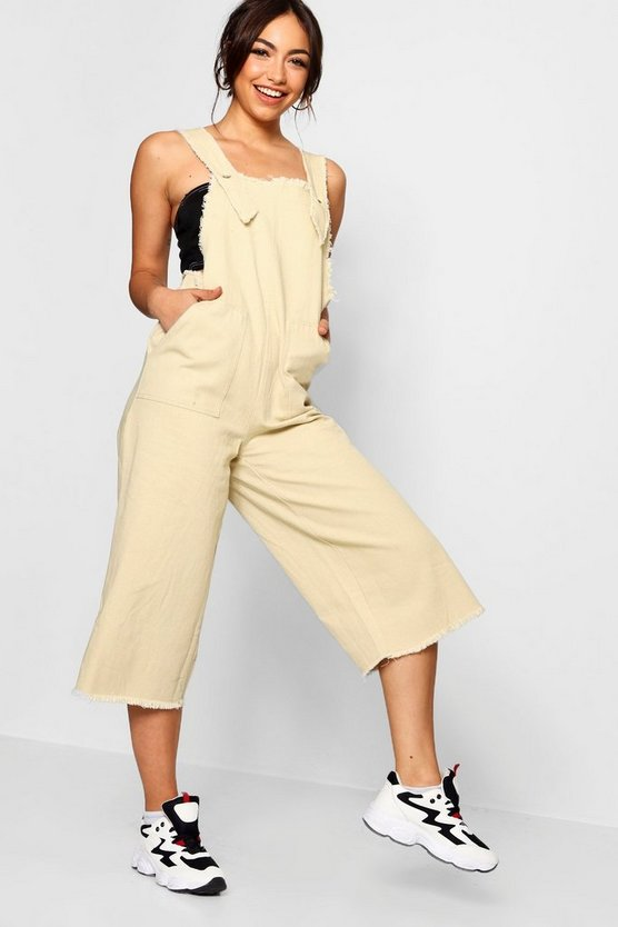 Side Tab Fray Edge Cropped Denim Jumpsuit