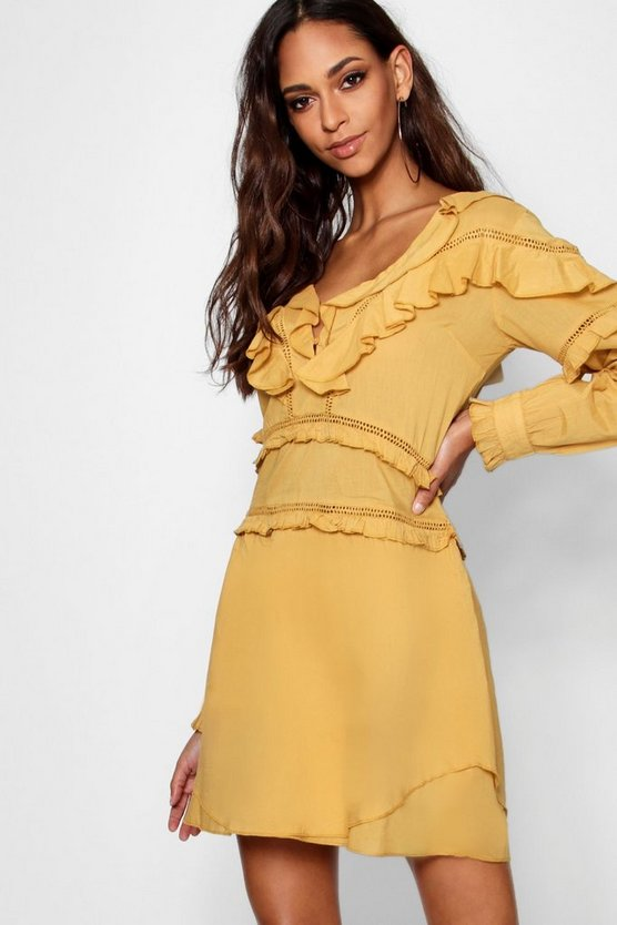 Tiff Ruffle Crochet Trim Detail A Line Dress