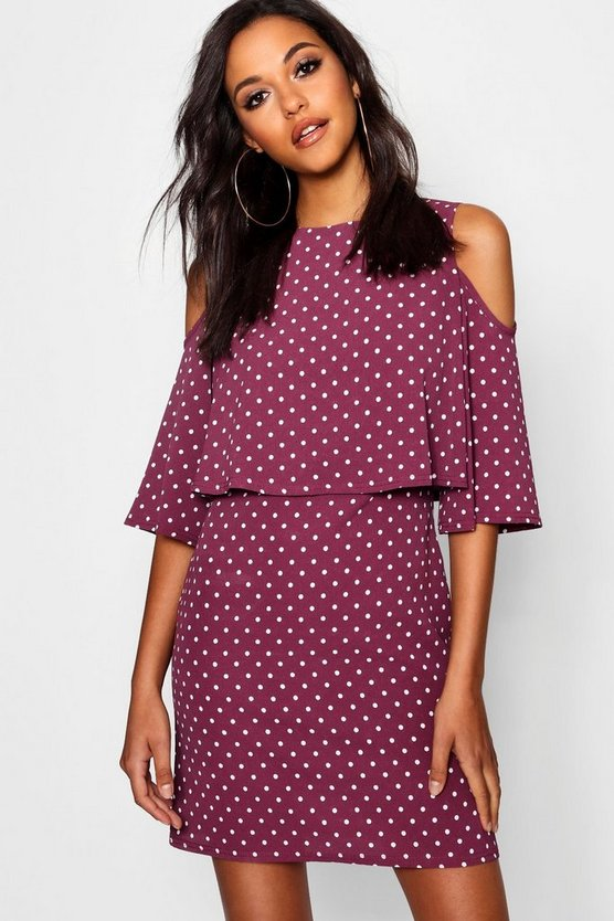 Flo Double Layer Polka Dot Shift Dress