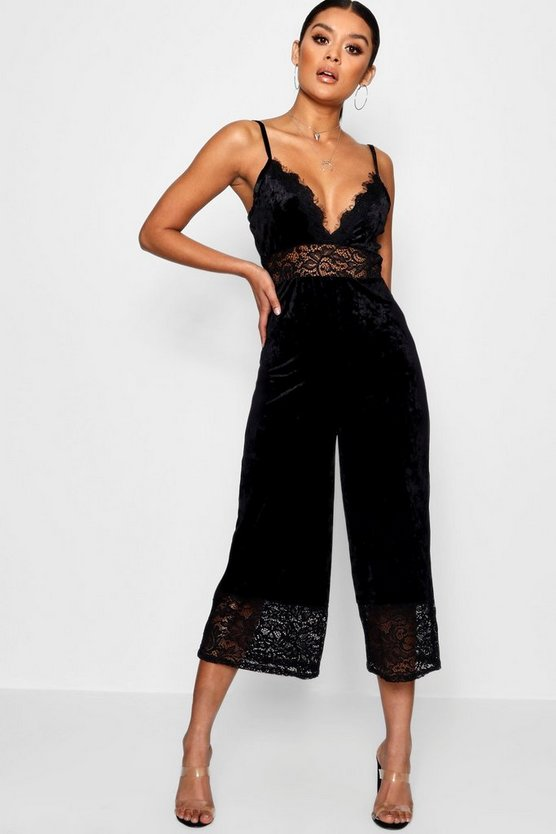 Lace Trim Velvet Cami Jumpsuit