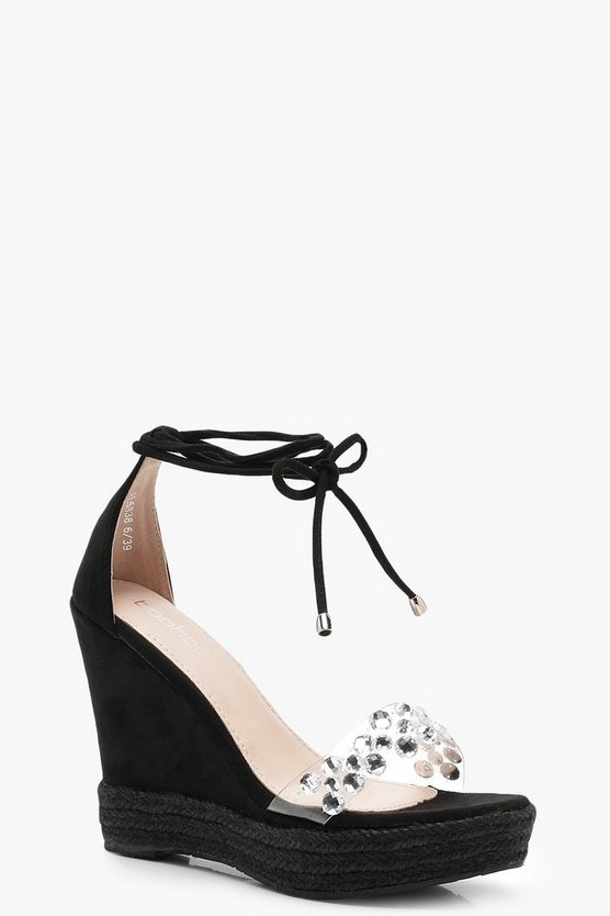Sarah Clear Embellished Strap Wedges